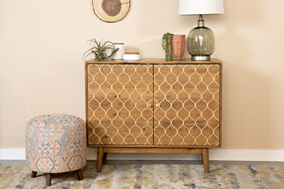 Solid acacia wood two door accent cabinet in a natural finish