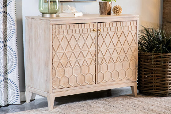 Solid acacia wood two door accent cabinet in a white distressed finish