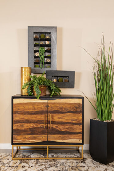 Beautifully constructed sheesham & acacia wood two door accent cabinet