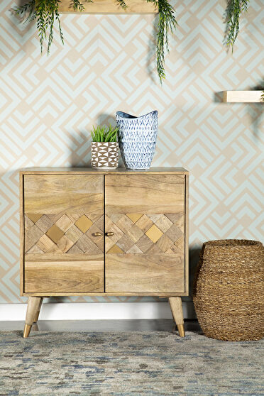 Solid mango wood two door accent cabinet in a natural finish