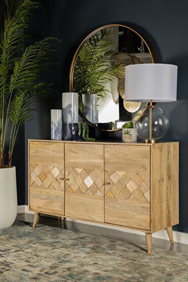 Solid mango wood three door accent cabinet in a natural finish
