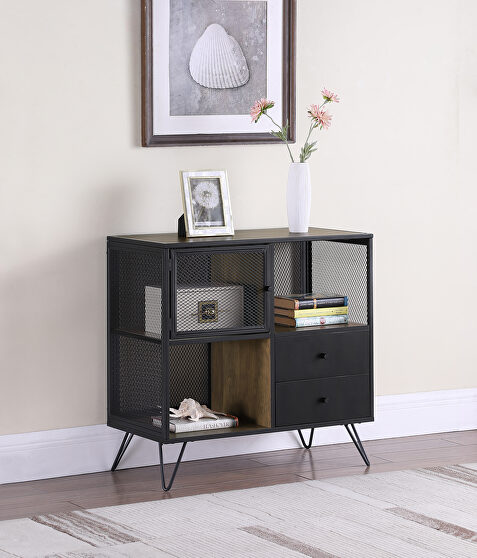 Industrial chic design accent cabinet