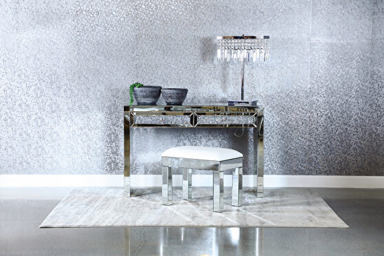 Gray gems, crystal knobs framed in mirror console table
