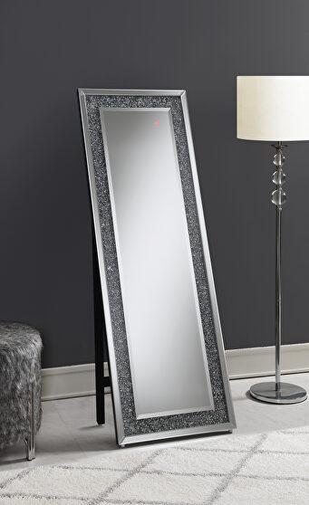 Silver finish cheval mirror