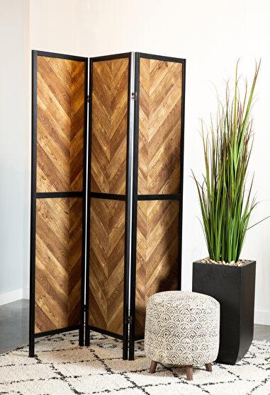 Rustic tobacco herringbone 3 panel screen