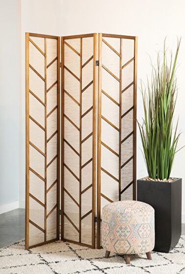 Modern three-panel room divider with a touch of tropical flair
