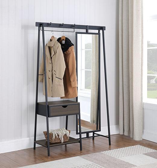 Sturdy steel frame powder coated in matte black coat rack