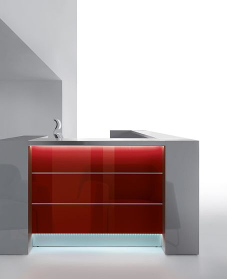 White / gray modular office reception furniture