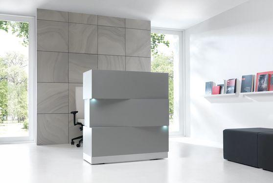Contemporary vertical reception desk in aluminum gray