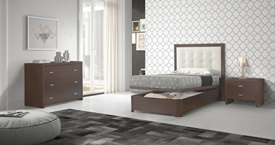 Wenge / white contemporary style twin bed w/ storage platform