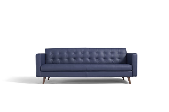 Prussia blue italian leather contemporary couch