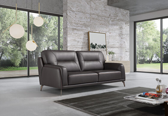 Contemporary dark brown full leather sofa