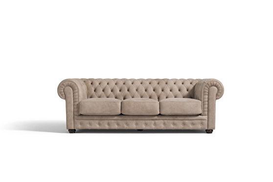 Sand leather tufted classic design sofa