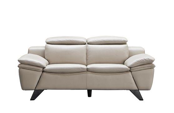 Light gray modern leather loveseat