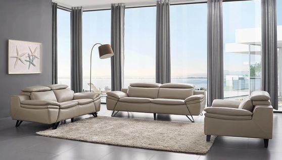 Light gray modern leather 3pcs living room set