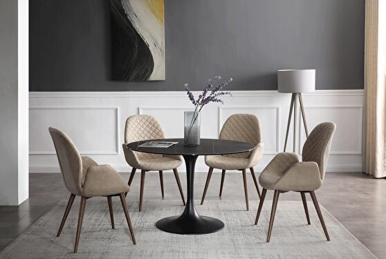 Black / dark gray round ceramic top dining table
