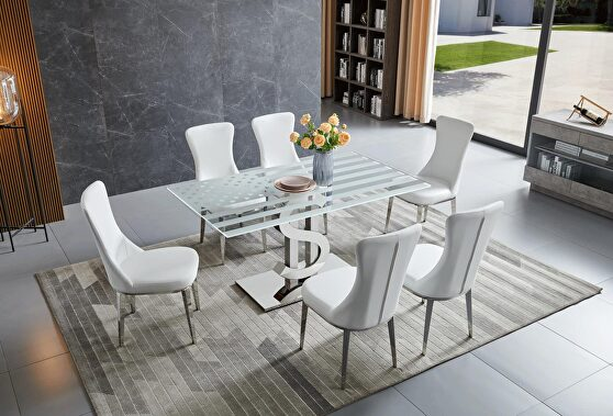 Contemporary glass top dining table w/ american flag motif