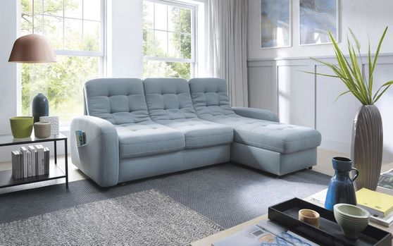 EU-made unique blue fabric sleeper sectional sofa