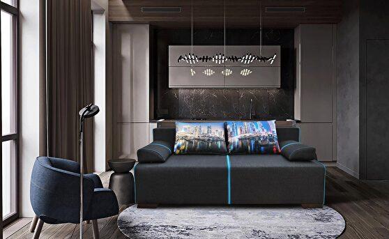 Modern brown fabric sofa w/ adjustable headrests