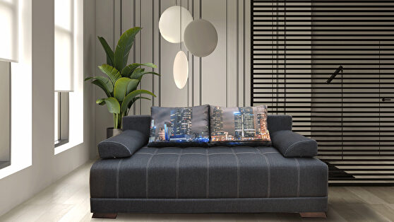Dark gray EU-made sofa bed w/ storage