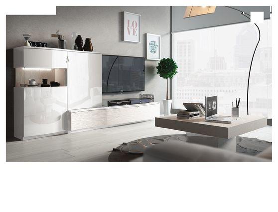 White high-gloss Spain-made TV-unit / wall-unit