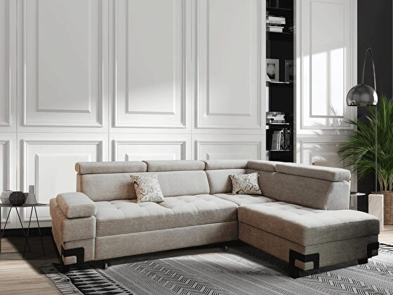 European fabric sectional w/ sleeper & storage