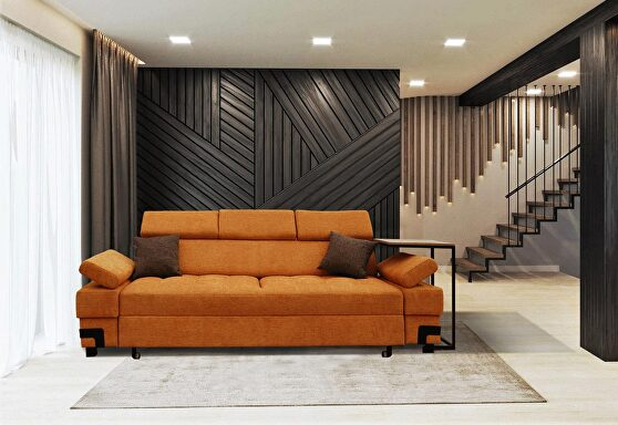 Orange fabric sofa bed made in EU