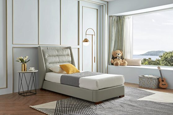 Gray lift storage twin size bed