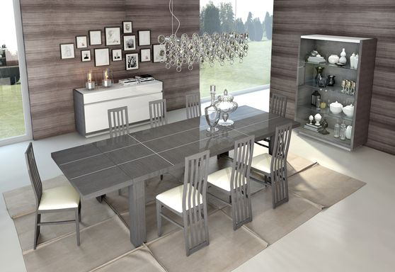 Italian gray high gloss laquer modern dining table