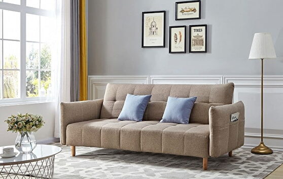 Modern light brown fabric sofa bed