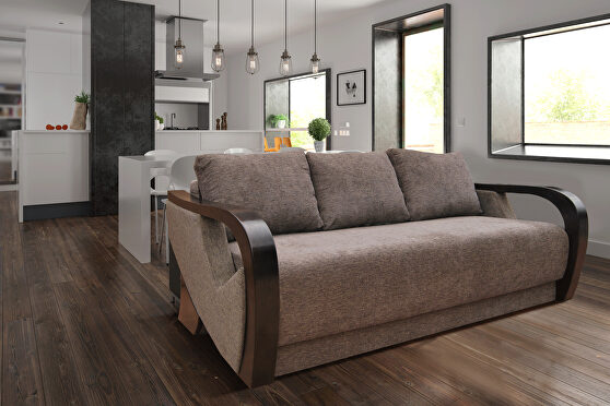 Curved arms sofa bed w/ storage
