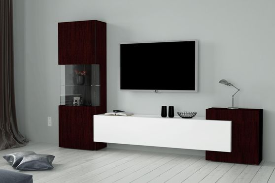 3pcs contemporary wall-unit in wenge/white