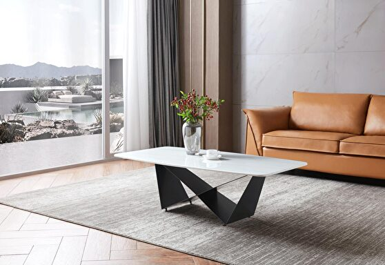 Marble top / solid gray steel base coffee table