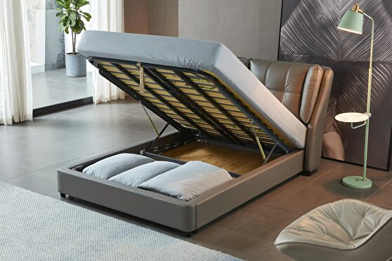 Stylish lift storage full bed in gray leather