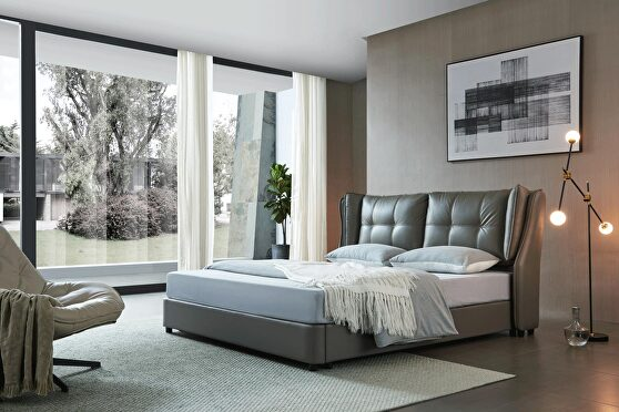 Stylish lift storage bed in gray leather