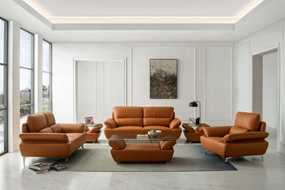 Orange leather stylish modern low-profile sofa