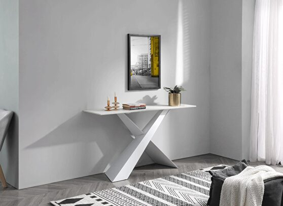 White / marble top console table / display.