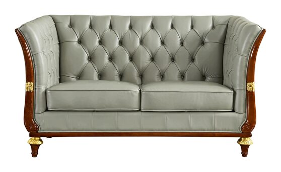Gray leather / brown / gold accents loveseat