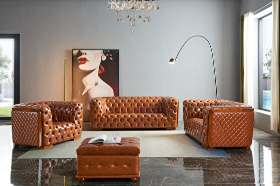 Deeply tufted custom made leather sofa