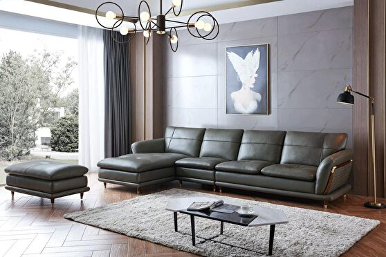 Green / gray leather stylish modern sectional sofa