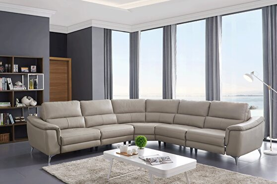 Taupe leather recliner sectional sofa in modern style