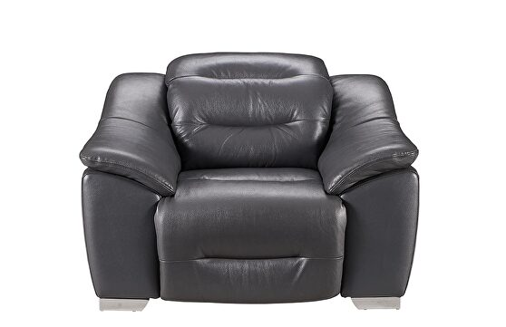 Dark gray charcoal leather electric recliner chair