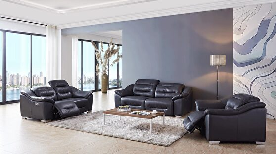 Dark gray charcoal leather electric recliner sofa