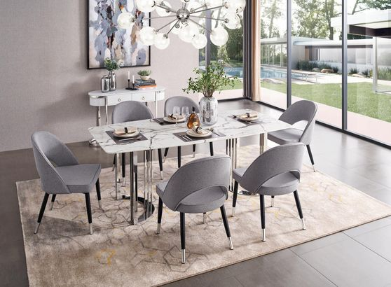 Silver marble dining table in luxury style