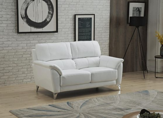 White leather contemporary living room loveseat