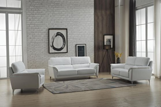 White leather contemporary living room 3pcs set