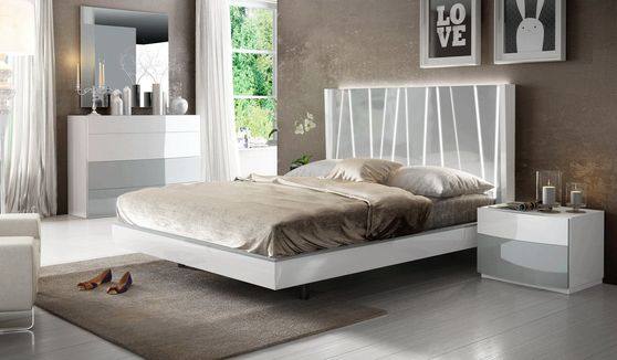 White/gray super contemporary stylish king bed