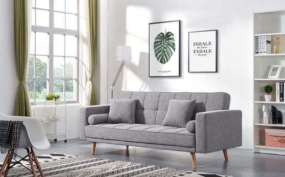Gray retro modern style linen fabric sofa bed
