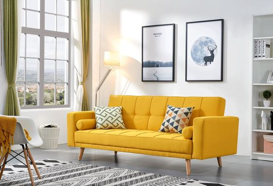 Yellow retro modern style linen fabric sofa bed