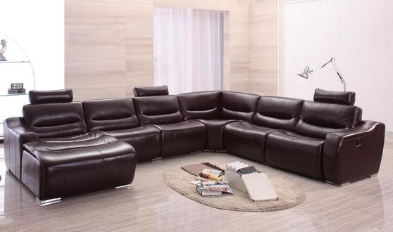 Dark hickory full leather quality sectional sofa